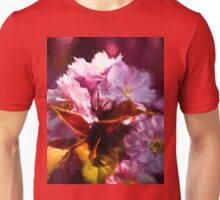 Copper leaves and Cherry blossom with artistic filter Unisex T-Shirt
