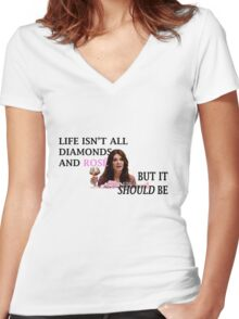 Life Is Diamonds and Rosé Women's Fitted V-Neck T-Shirt