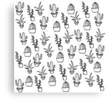 Succulents - Black & White Canvas Print