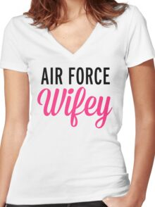 Air Force Wifey Quote Women's Fitted V-Neck T-Shirt