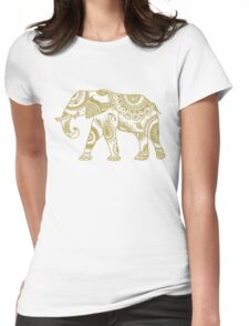 Patterned Elephant - Gold Womens Fitted T-Shirt