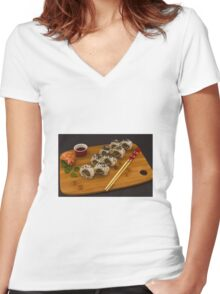 Sushi food Women's Fitted V-Neck T-Shirt