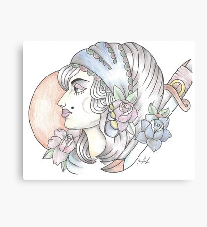 traditional gypsy woman tattoo Canvas Print