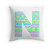 Letter N Neon Wavy Stripe Pattern Monogram Initial Throw Pillow