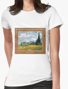 Vincent Van Gogh - Wheat Field with Cypresses, Impressionism. Van Gogh Womens Fitted T-Shirt
