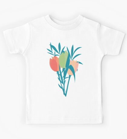 Spring flower pattern, tulips and lilies, 006 Kids Tee