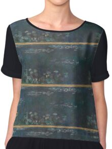 Claude Monet - The Water Lilies - Green Reflections  Impressionism. Chiffon Top