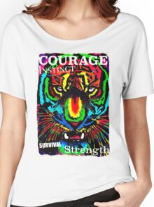 RAINBOW TIGER FACE Women's Relaxed Fit T-Shirt