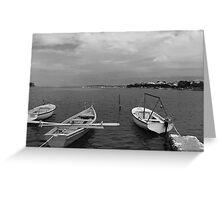Boats In Dubrovnik - Croatia - Black & White Greeting Card