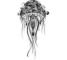 Black Retro Jellyfish Over White Background Photographic Print