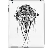 Black Retro Jellyfish Over White Background iPad Case/Skin