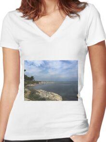 Ocean in Croatia Women's Fitted V-Neck T-Shirt