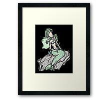 mermaid (green) watercolor 2 Framed Print