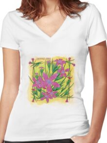 Deptford Pinks Women's Fitted V-Neck T-Shirt