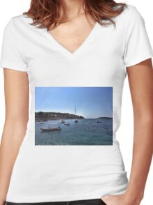 Boats In Dubrovnik - Croatia Women's Fitted V-Neck T-Shirt