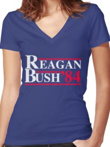 Reagan Bush '84 Retro Logo Women's Fitted V-Neck T-Shirt