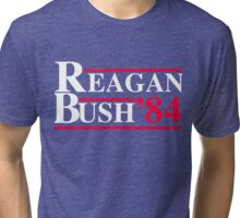 Reagan Bush '84 Retro Logo Red White Blue Election Ronald George 1984 84 Tri-blend T-Shirt