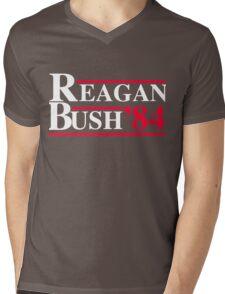 Reagan Bush '84 Retro Logo Red White Blue Election Ronald George 1984 84 Mens V-Neck T-Shirt