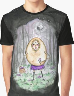 Flower Picking Egg Lady Graphic T-Shirt