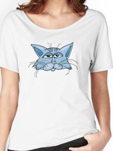 Blue cat head art Women's Relaxed Fit T-Shirt