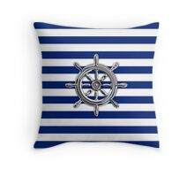 Chrome Style Nautical Wheel Applique Throw Pillow