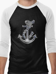 Chrome Style Nautical Rope Anchor Applique Men's Baseball ¾ T-Shirt