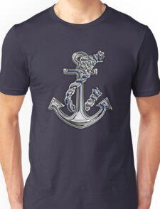 Chrome Style Nautical Rope Anchor Applique Unisex T-Shirt