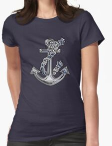 Chrome Style Nautical Rope Anchor Applique Womens Fitted T-Shirt
