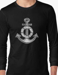 Chrome Style Nautical Life Anchor Applique Long Sleeve T-Shirt