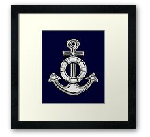 Chrome Style Nautical Life Anchor Applique Framed Print