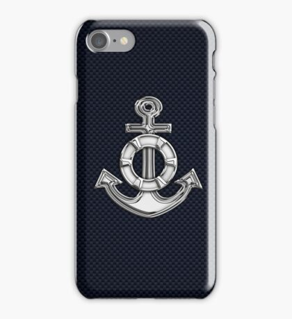 Chrome Style Nautical Life Anchor Applique iPhone Case/Skin