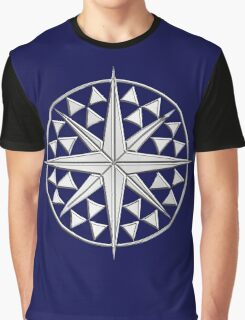 Chrome Style Nautical Compass Star Graphic T-Shirt