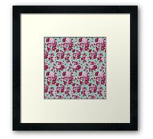 Vintage green - red elegant roses flowers pattern  Framed Print