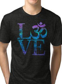 OM LOVE Spiritual Symbol in Distressed Style Tri-blend T-Shirt