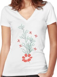 Flower Garden 006 Women's Fitted V-Neck T-Shirt