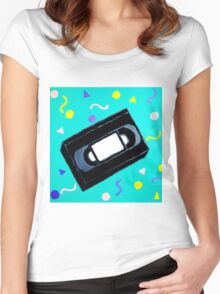 Movie Nights VHS Clothes and Poster Women's Fitted Scoop T-Shirt
