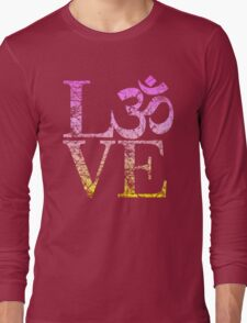 OM LOVE Spiritual Symbol in Distressed Style Long Sleeve T-Shirt