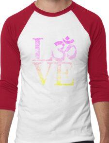 OM LOVE Spiritual Symbol in Distressed Style Men's Baseball ¾ T-Shirt