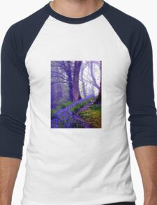 Bluebells in the Forest Rain Men's Baseball ¾ T-Shirt