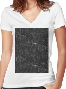 Black Marble texture Women's Fitted V-Neck T-Shirt
