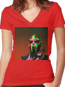 MF DOOM Vector art Women's Fitted V-Neck T-Shirt