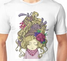Blondy girl with beautiful flower Unisex T-Shirt