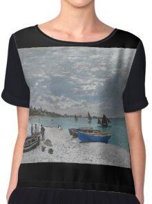 Claude Monet - The Beach at Sainte-Adresse (1867) Chiffon Top