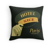 Hats off for a Nice Hotel Paris France retro style Throw Pillow