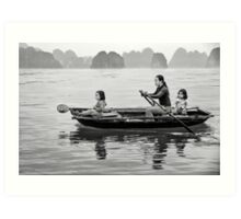 Rowing in Halong Bay Art Print