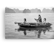 Rowing in Halong Bay Metal Print
