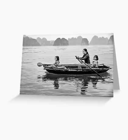 Rowing in Halong Bay Greeting Card