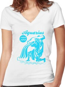 Funny Aquarius Zodiac Women's Fitted V-Neck T-Shirt