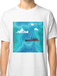 Seamless vector pattern with ocean waves, ship and icebergs. Classic T-Shirt