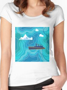 Seamless vector pattern with ocean waves, ship and icebergs. Women's Fitted Scoop T-Shirt